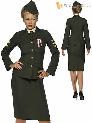 Ladies Wartime 1940 WW2 Army Officer Costume Adult Uniform Fancy Dress UK 8 - 26 • 31.70£