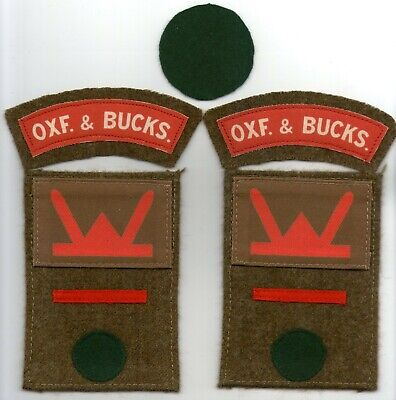 WW2 1st OXFORDSHIRE & BUCKINGHAMSHIRE LIGHT INFANTRY PATCHES (REPRODUCTION) • 25£