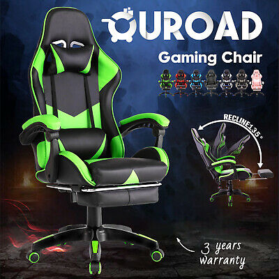 AU149.90 • Buy Gaming Office Chair W/Footrest Executive Computer Racer Recliner PU Leather Seat