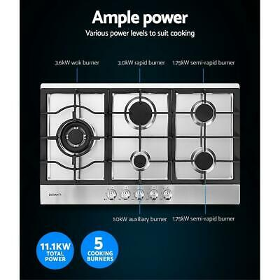 AU285 • Buy Devanti Gas Cooktop 90cm Kitchen Stove Cooker 5 Burner Stainless Steel NG/LPG Si