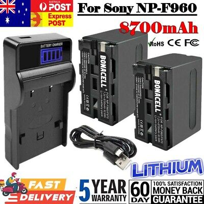 AU41.99 • Buy 2X For Sony 8700mAh NP-F960 Battery NPF960 NP-F970 NP-F950 F770 F750 + Charger