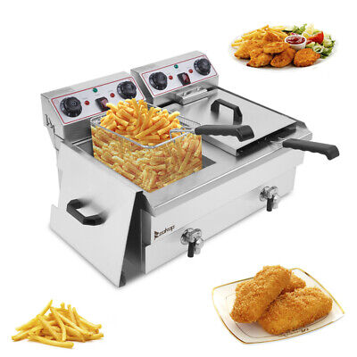 £159.99 • Buy 24L Electric Deep Fryer Fat Chip Frying Commercial Twin Tank Stainless Steel UK