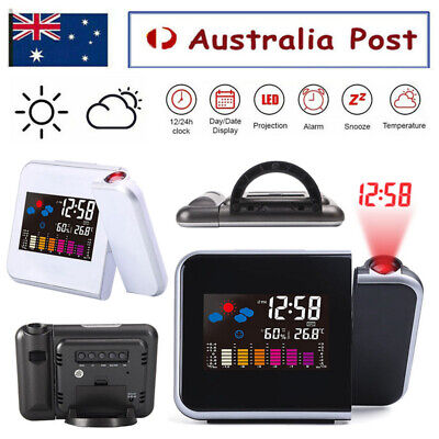 AU19.59 • Buy LCD Smart Alarm Clock Digital LED Projection Time Temperature Projector Display