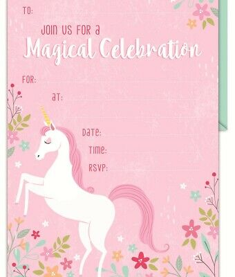 AU5.55 • Buy Unicorn Invitations Pack Of 16 Party Favours Supplies