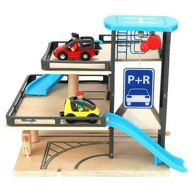 £34.95 • Buy Kids Wooden Car Garage Carpark Parking Lot Wooden Toy With Cars And Helicopter