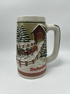 $ CDN39.27 • Buy Budweiser Beer Stein Ceramarte Covered Bridge Holiday Series 1984 Clydesdales