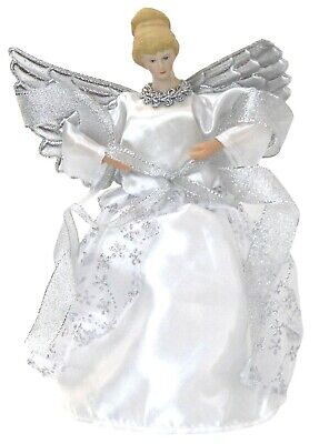 Christmas Tree Topper Fairy Angel Decoration Treetop Ornaments Silver Gown Wings • 9.99£