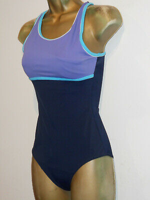 Blue / Navy Bhs Racer Clip Back Swimsuit Size 10 New Long Tall Firm Control  • 9.99£