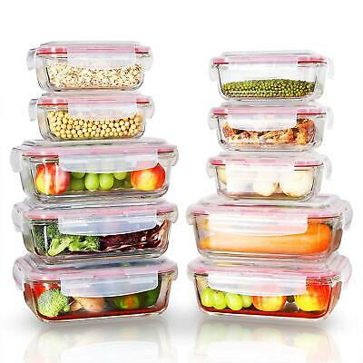 £24.99 • Buy Vinsani 10PCs Rectangle Glass Food Storage Containers With Airtight Lids