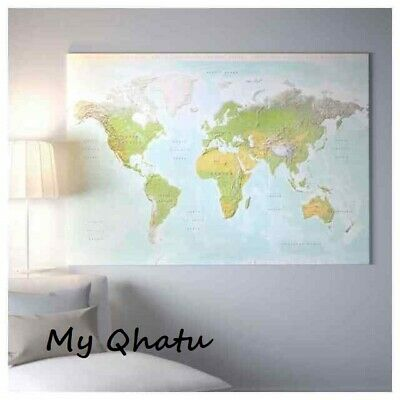IKEA BJORKSTA Picture Planet Earth MAP 78 3/4  X 55  Canvas Only No Frame NEW • 28.36£
