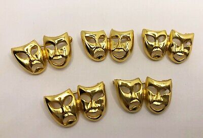 £7.99 • Buy 5 Gold Comedy & Tragedy Drama Theatre Masks Pin Badges