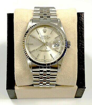 $ CDN6249.80 • Buy Rolex Datejust 16234 Silver Dial 18K White Gold Fluted Bezel Stainless Steel