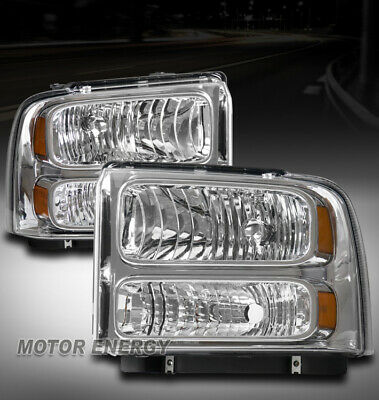$145.95 • Buy For 99-04 Ford F250 F350 Superduty/00 Excursion Headlight Chrome Left+right Pair