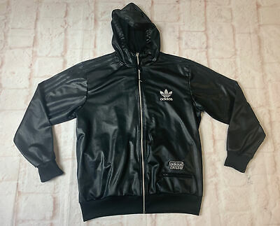 DD31 Men's Adidas Chile 62 Rare Hooded Jacket Shiny Black Large Zip Up Track Top • 36£