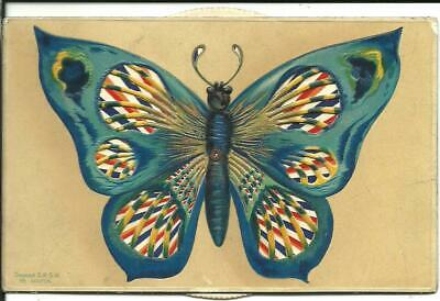 NOVELTY GREETINGS POSTCARD - KALEIDOSCOPIC COLOUR BUTTERFLY C1910 • 2.20£