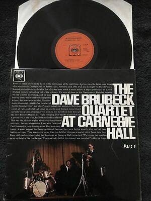 The Dave Brubeck Quartet - At Carnegie Hall Part 1 Vinyl LP CBS BPG 62155 EX/VG+ • 2.99£