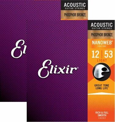 $ CDN37.62 • Buy 2* Sets Elixir Nanoweb Phosphor Bronze Acoustic Guitar Strings 12-53 Light 16052