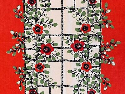$ CDN32.65 • Buy Vintage Tablecloth Startex Red Holiday Thanksgiving Christmas Red MCM Cotton
