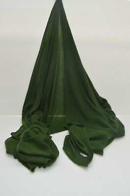 Forest Green Cashmere Scarf Shawl Stole Wrap Throw Pashmina Nepalese Handmade  • 22.14£
