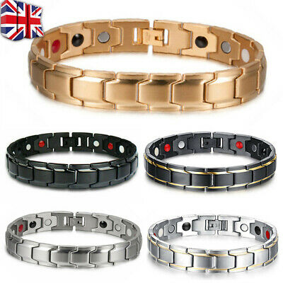 UK Mens Magnetic Health Bracelet Carpal Tunnel Arthritis Therapy Pain Relief M • 3.66£