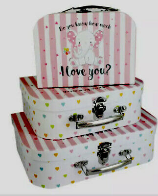 """Pretty Set 3  """"do You Know. How Much I Love You """"  Pink Suitcases 🌸 Brand New • 7.99£"""