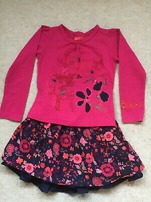 Girls Pink And Navy Skirt And Top Set Age 4 By French Boutique Marese • 2.30£