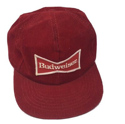 $ CDN64.34 • Buy Vintage Budweiser Snapback Trucker Hat Red Corduroy Patch Cap Made In USA