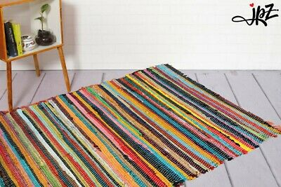 Home Recycle Mat Handmade Cotton Multi Coloured Chindi Rag Area Rug Floor Mat • 19.99£