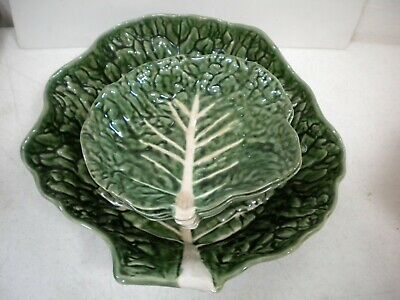 £70.95 • Buy Green Majolica Cabbage Leaf Form 5 Piece Salad Bowl Set Portugal Secla Pottery