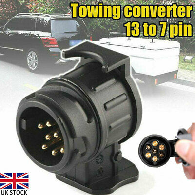 13 To 7 Pin Plug Adapter Car Trailer Truck Caravan Towbar Socket Converter UK • 6.52£