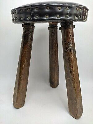 $69.99 • Buy Primitive 3 Legged Milking Stool 16  Hand Made In Spain Rustic Leather Farmhouse