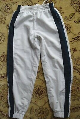 White Lacoste Track Pants 8y/128cm Tracksuit Boy Trainingshose Wind Kinder Junge • 9.46£