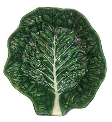 £49.69 • Buy Vintage Secla Portugal Majolica Green Cabbage Lettuce Leaf Salad Serving Bowl