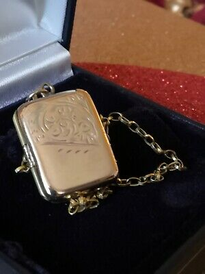 Ladies 9ct Yellow Gold Front & Back Vintage Locket Pendant With Chain • 35£