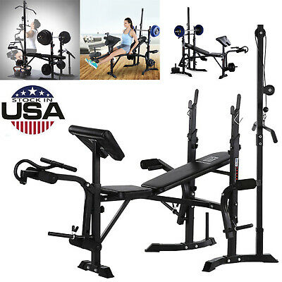 $ CDN134.38 • Buy Adjustable Lifting Weight Bench With Squat Rack Workout Leg Sit Up Curl Bench