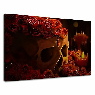 Skull With Gothic Red Rose Contemporary Art Canvas Wall Art Picture Print • 36.99£