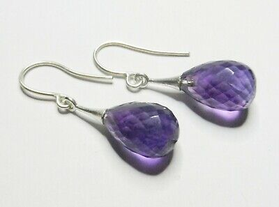 Sterling Silver And Faceted Amethyst Drop Earrings • 18.99£