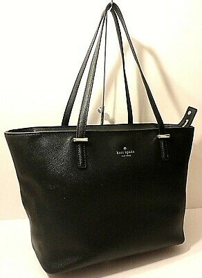 $ CDN22.91 • Buy Kate Spade New York Black Leather Tote Satchel Shopper Office Shoulder Purse Bag