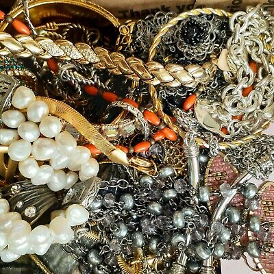 $ CDN36.32 • Buy 2lb+ Pounds  Estate Vintage To Now Mixed All Wearable Jewelry Lot