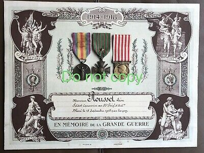 WW1 French Croix De Guerre,Victory And Commemorative Medal On Diploma Gassed • 70£