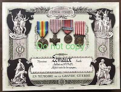 WW1 French Victory, Commemorative, Croix De Combatant Verdun Medal On Diploma • 85£
