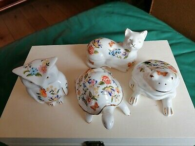 Aynsley Cottage Garden Animal Trinket Box Set Incl. Cat Owl Tortoise And Frog • 20£