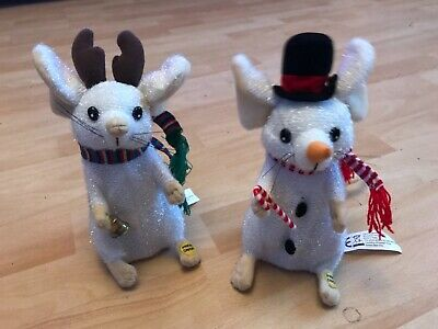 """X2 Vintage Christmas Singing Dancing Mice Musical Figures 8"""" Loudly Working Rare • 4.99£"""