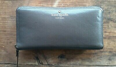 $ CDN13.09 • Buy Kate Spade Grand Street Lacey Zip Around Wallet Dark Taupe Leather