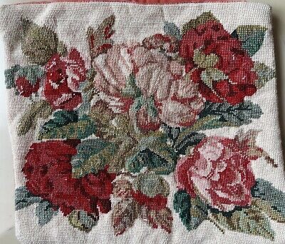 EHRMAN NEEDLEPOINT TAPESTRY CUSHION COVER Old Roses By WILLIAM BRIGGS 1994 12  • 9.99£
