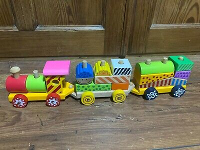Eichhorn Wooden Stacking Train Push Along Building Blocks Sorter Puzzle Toy • 1.99£