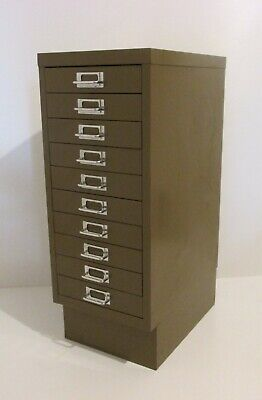 Vintage Bisley Filing Cabinet 10 Drawers Industrial Metal Steel Cupboard Stor • 39.99£