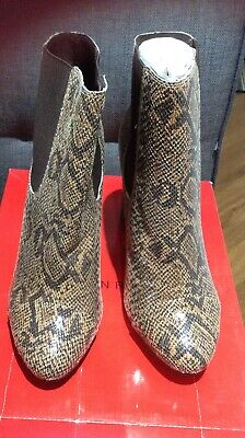 London Rebel Leather Snakeskin High Heeled Ankle Boots Size Eu40 New & Boxed • 19.99£