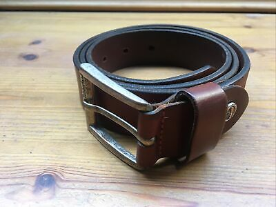 Timberland Thick Brown Leather Buckle Belt Size M 95cm • 10£
