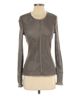 $ CDN36.56 • Buy W By Worth Long Sleeve Perforated Mesh Top Blouse Small Gray Sheer